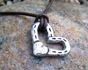 Heart and Horse Shoes Pendant, Rustic Horse Jewelry, Hand Hammered, Horse Lover Gift, Equestrian Gift, Horseshoe Pendant, Handcast Pendant
