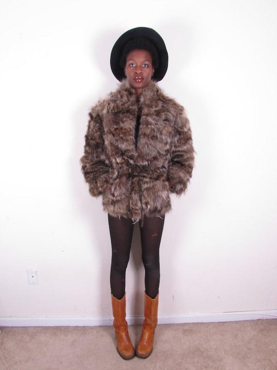Vintage 70s raccoon shaggy drawstring waist coat jacket