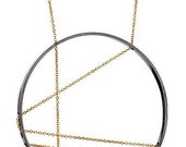 Inner Circle Necklace 111 in Oxidized Silver and Gold