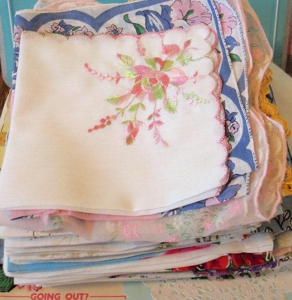 Vintage / Handkerchiefs / One Hundred / Wedding Reception Bunting / Flag Pennants