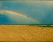 Promise: fine art photograph print of rainbow at the beach with sand, blue sky, and seagull bird flying (peaceful Gulf Coast skyscape)