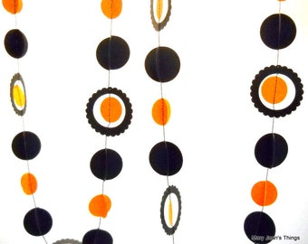 Halloween Garland Orange and Black Multi-dimensional Paper Party Decor OOAK