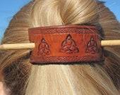 Hand Stamped Leather Barrette/Ponytail Holder-  Celtic Triquetra