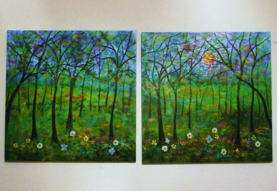 original large oil painting landscape modern flowers green  trees and sun  24 x 48 free ship Vadal