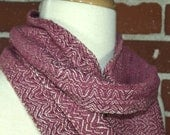 Cotton Handwoven Scarf in Berry and Natural - Hand Dyed Yarn