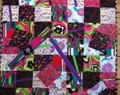 Modern Pink Black Colorful Art Quilt Wall Hanging