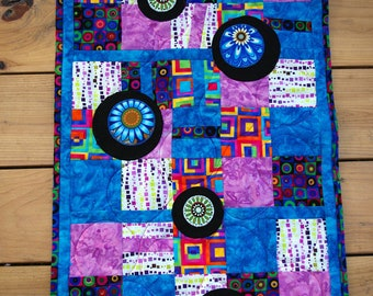 Stunning Art Quilt Wall Hanging, Circles, Squares, Modern Quilt
