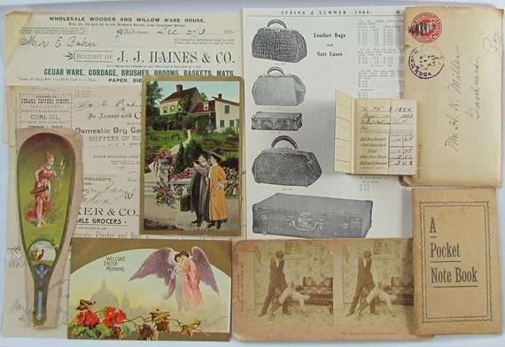 Antique Papers..Ephemera..1890..Dozen Piece