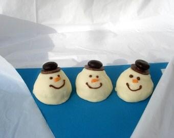Cake Balls: Snowmen Sampler Bitty Cake Ball Bites. Perfect gift for Christmas. Snowman Candy/Cake Truffle