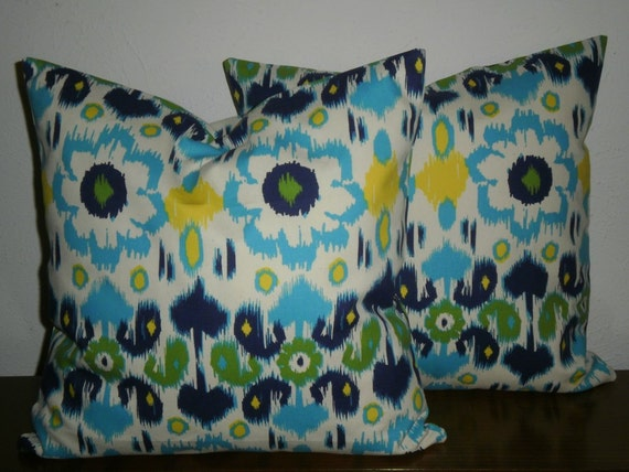 FREE DOMESTIC SHIPPING Set of Two  Decorative Pillow Covers -18 inch Blue/Yellow/Green .Ikat Modern Floral. Invisible  Zipper