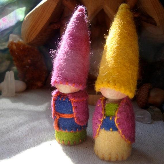 Honey and Raspberry Autumnal Gnomes Waldorf Storytelling Dollhouse doll play