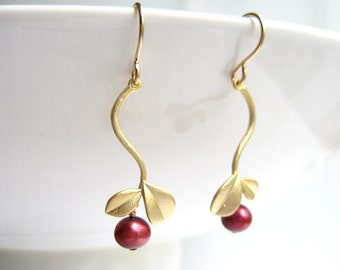 Vine earrings - gold branch with small leaf and dark red pearl earrings, bridesmaid gift, burgundy earrings - Fruit of The Vine