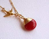 Ruby Red Jade Gemstone Teardrop, Swarovski Crystal, Bird Necklace, Red pendant, Gold Jewelry  - 2426