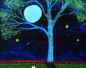 White German Shepherd Dog Moon Folk art PRINT of Todd Young painting Shooting Star
