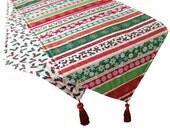 Christmas Stripes, Holiday Table Runner, Christmas Table Runner