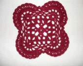 "New Handmade Crocheted ""Royal Square"" Coaster/Doily in Burgundy"