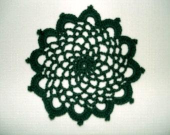 "New Handmade Crocheted ""83"" Coaster/Doily in Hunter"
