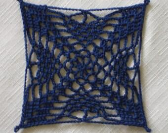 """New Handmade Crocheted """"MC-5"""" Coaster/Doily in Navy"""
