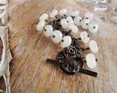RESERVED for BONNIE - moonstone bracelet  sterling silver rose bracelet  gemstone bracelet dangle bracelet  garden inspired