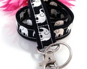 Lanyard / ID Holder with Black And White Elephant