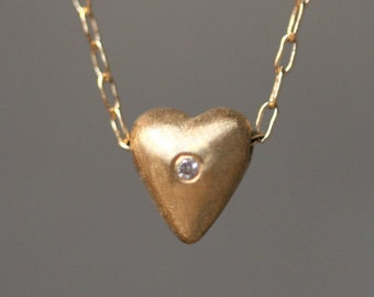 Tiny Puffy Heart Necklace in 14K Gold with Diamond