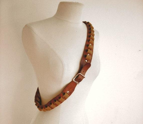 Leather Bullet Belt : Vintage Brown Leather Belt