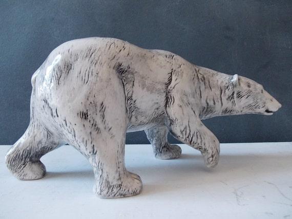 Polar Bear : Vintage Ceramic Sculpture 1970s
