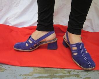 Vintage Purple Suede Sandal Shoes sling  back Size 7