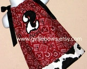 Personalized Birthday Number Cowgirl Bandana Red or Pink or Blue Pillowcase Dress size 3 6 9 12 18 month mo 2T 3T 4 5 6