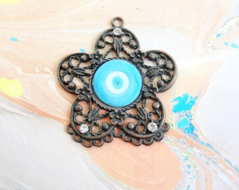 Large Copper Evil Eye Pendant