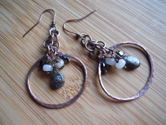 Kyanite Black Tourmaline and Aquamarine Hoop Dangle Earrings Wire Wrapped with Oxidized Copper wire