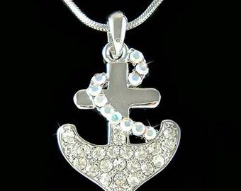 Swarovski Crystal Nautical Yacht Club ANCHOR Boat Ocean Pendant Necklace Celebrity Style