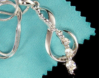 Treble g Clef Swarovski Crystal Musical MUSIC NOTE Pendant Charm Necklace Xmas