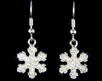 Swarovski Crystal Rhinestone Clear SNOWFLAKE Snow Flake Holiday Christmas Earrings Best Friend Gift New