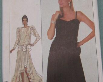 Dress vintage 1987 simplicity sewing pattern 8 10 12 misses women asymmetrical evening, uncut sewing pattern
