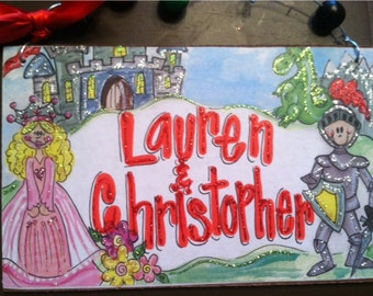 Hand personalized sign princess and knight perfect for twins or boy/girl party