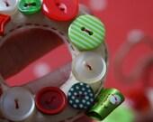 Cream Felt Button Mini Wreath Decoration/ Ornament