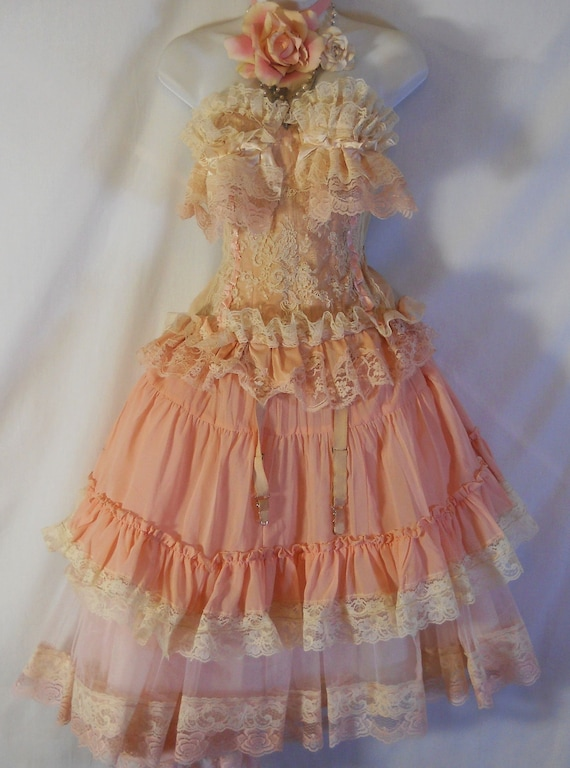 Pink ruffle tutu skirt  tulle lace fairytale  bohemian lolita cosplay  medium  by vintage opulence on Etsy