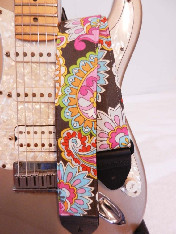 70s paisley hipster guitar strap