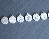 1/2 inch Sterling Silver Handstamped Charm, Personalized Initial Charm
