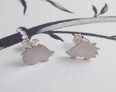 Silver Hedgehog Stud Earrings