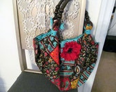 Handmade Red Bohemian Style Hobo Bag with Accessories