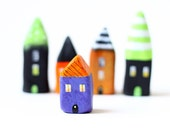 Halloween little house - orange and purple clay house with stripes