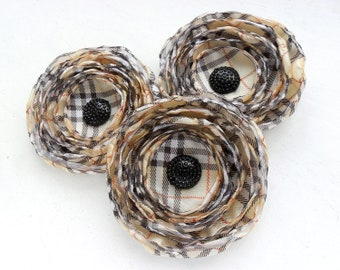 Fabric flowers - silk flowers, plaid flowers, 3 big handmade pale yellow, brown, white and red applique, singed silk embellishments, wedding