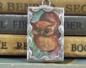 SALE - Owl Charm - Soldered Glass Owl Pendant with Vintage Book Illustration - Mixed Media Charm