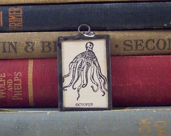 SALE - Octopus Charm - O is for Octopus - Vintage Dictionary Charm - Octopus Pendant - Nautical Charm - Letter O Monogram O  Initial O