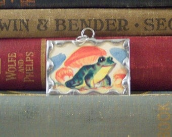 SALE - Green Frog Pendant - Frog Charm - Soldered Glass Charm Pendant w/ Vintage Illustration - Frog and Toadstool Charm- Fairy Tale Pendant