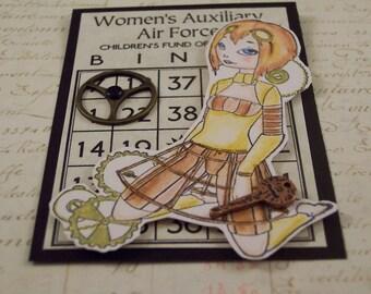 Steam Punk ACEO Art Card - Steam Punk Girl Mixed Media Collage ATC Mini Card
