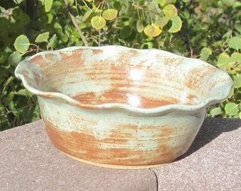 Wavy Rim Serving Bowl PISTACHIO - Great for dip - Handmade pottery