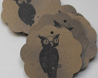 Halloween Owl Tags Stamped by The Paper Peddler Halloween gift wrap adornments 13 pieces